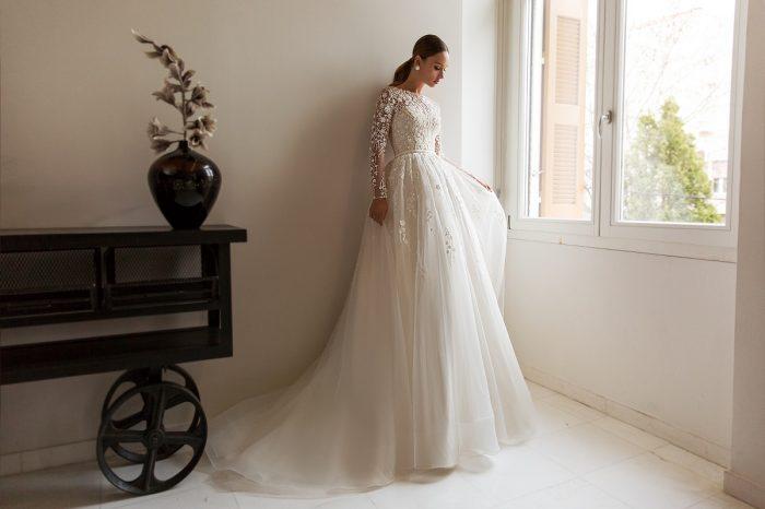свадебное платье с кружевным верхомRoksanny