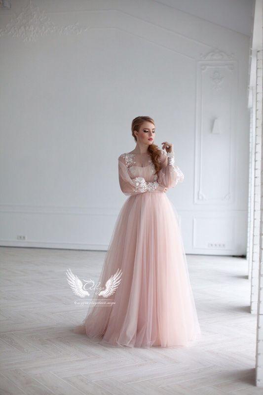 вечернее платье Soffito пудрового цвета