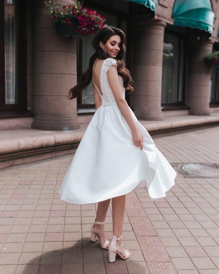 атласное свадебное платье на роспись