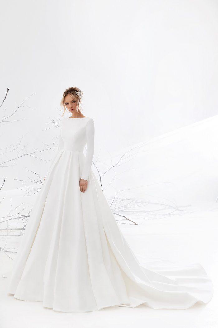 свадебное платье айвори атлас