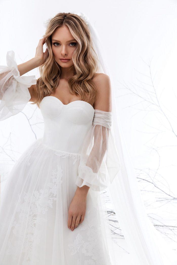 свадебное платье с воздушными рукавами Esta