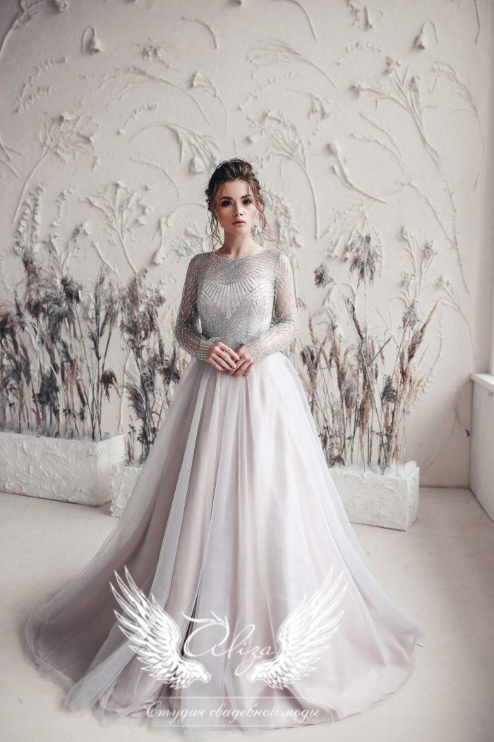вечернее платье-трансформер длинное в пол серебро