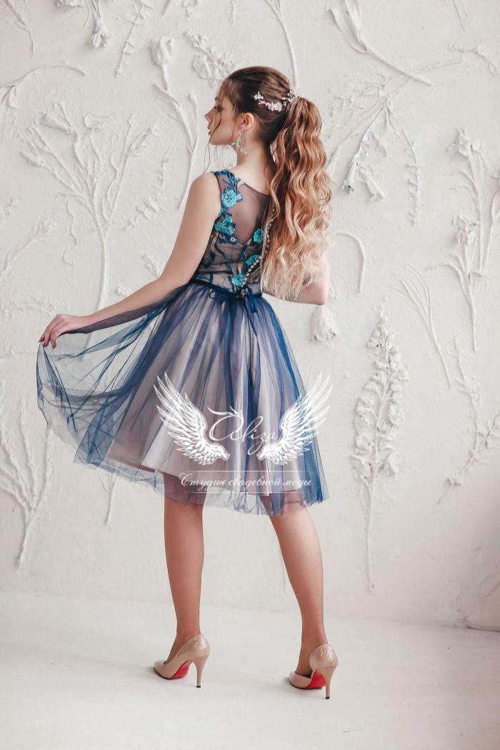 вечернее платье синего цвета длина миди