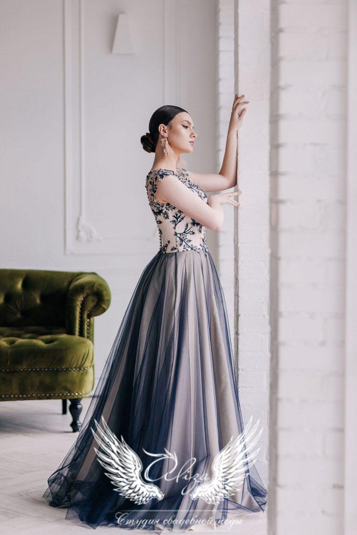 платье на выпускной синего цвета