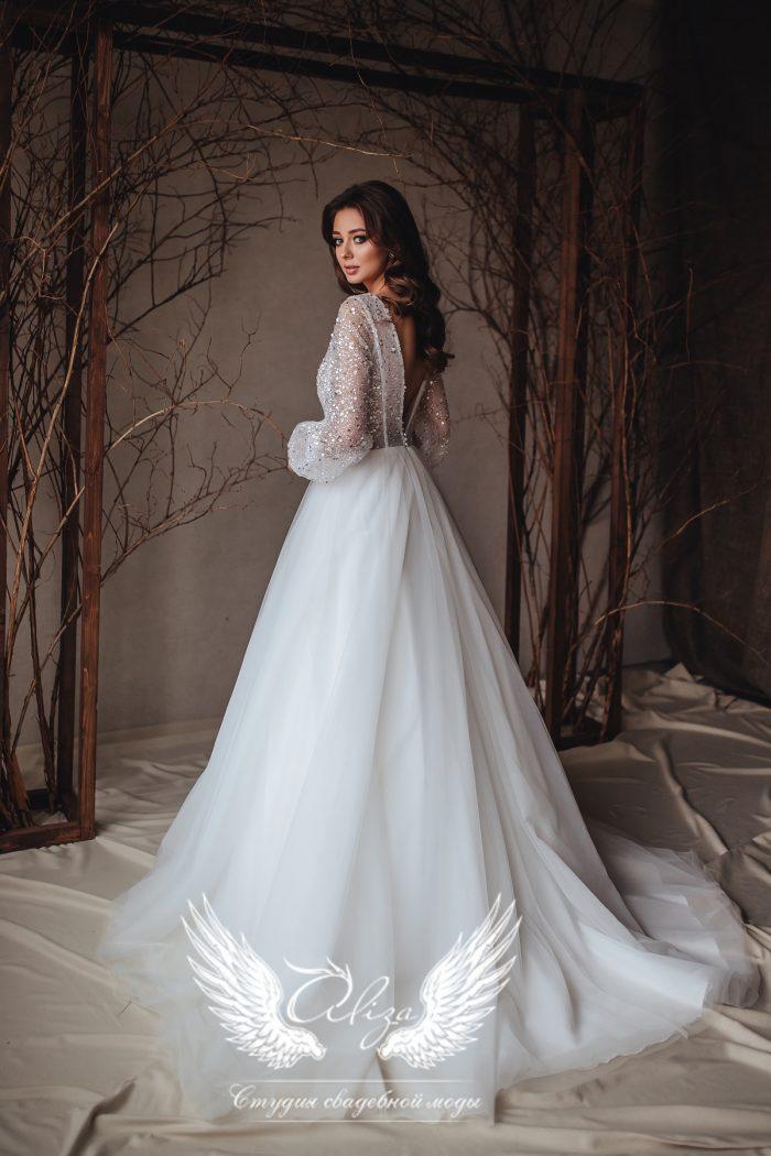 свадебное платье с пайеткой