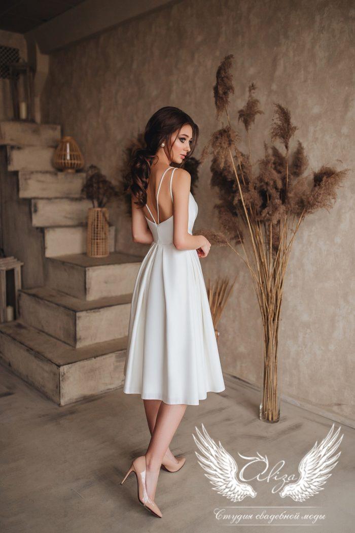 лаконичное свадебное платье в миди