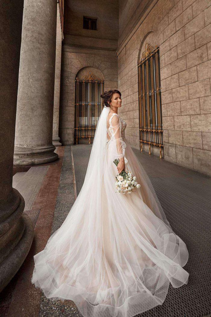 свадебное платье с цвета нюд nude