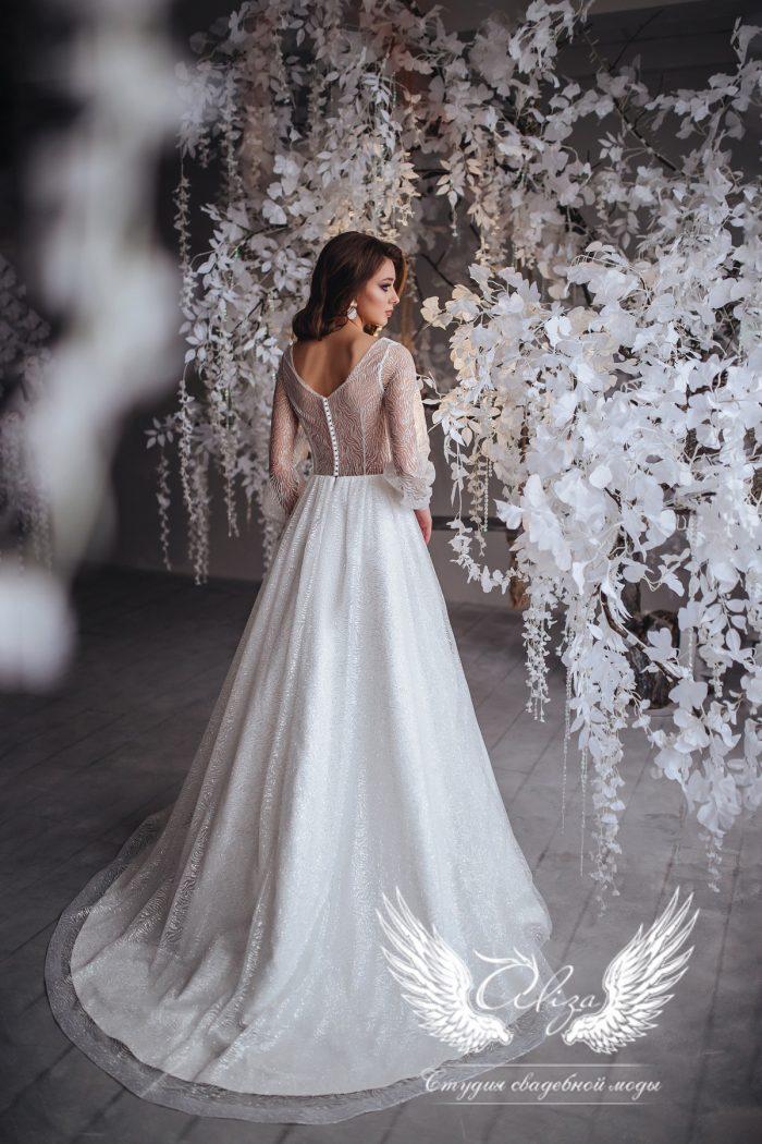 платье из глиттера с рукавами и корсетом