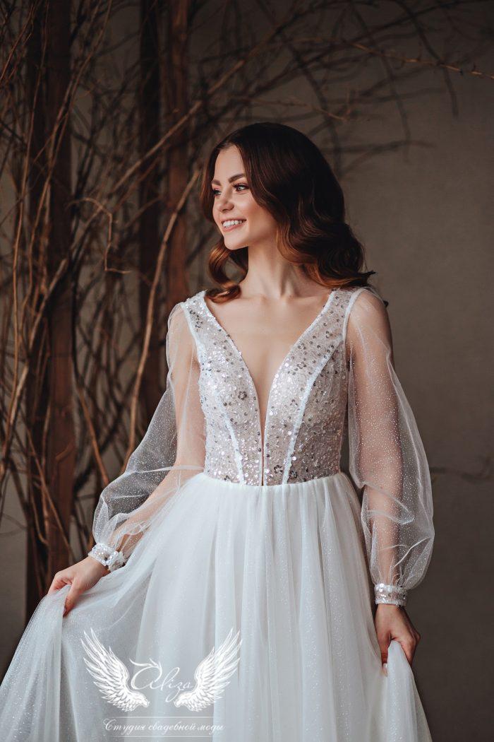 свадебное платье в миди с рукавами