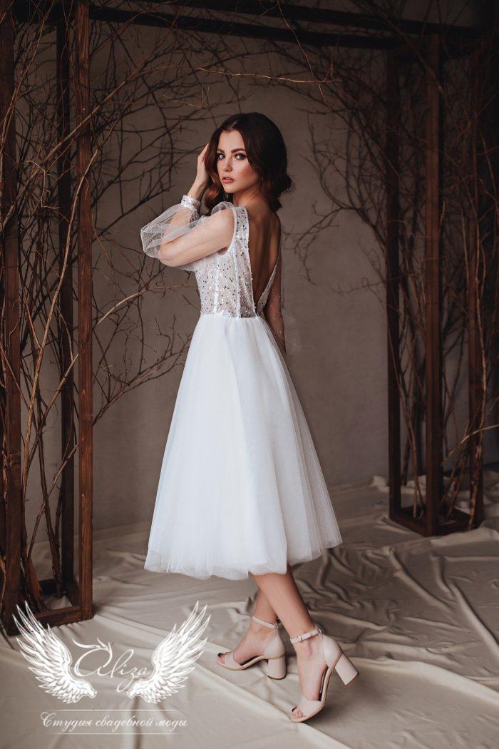 свадебное платье в миди с глиттером