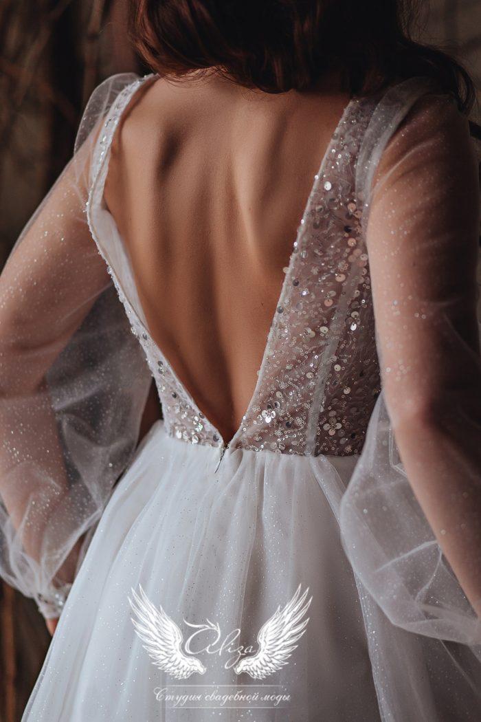 Свадебное платье в миди с открытой спиной
